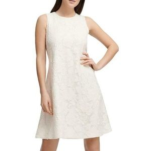 Donna Karan Womens Ivory Lace Above Knee Cocktail